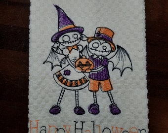 Creepy Kids Happy Halloween Embroidered Towel - Made to Order