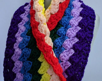 Rainbow Scarf Handmade Rainbow Cowl Extra Thick Scarf, Colorful Statement Accessory - Ready to Ship & On Sale Now!