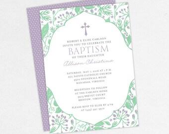 Girl Baptism Invitation, Christening Invitation, Printable Baptism Invitation, Invitation PDF, Floral, Flower Invite, Mint, Purple, Allison
