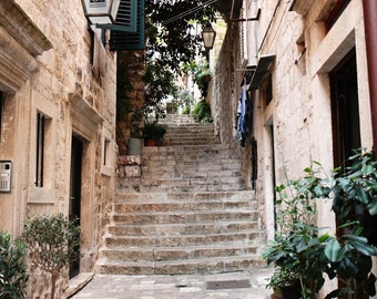 Dubrovnik Croatia Print - European Architecture Photography - Old Historic City Print - Travel Photography - Tan Wall Art Home Decor Stairs