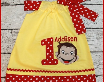 Curious George Monkey Birthday Pillowcase style dress Yellow and red polka dot