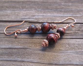 Red Tigers Eye Earrings in Copper, Handmade