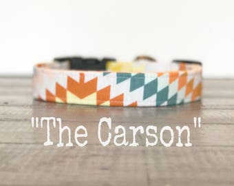 Aztec DOG COLLAR, Dog Collars, The CARSON, Teal, Turquoise, Rust, White, Cool Dog Collar