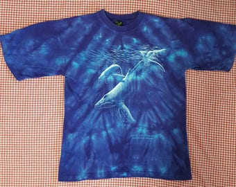 1990s Humpback Whale tee Purple/Blue Tie Dye Small Save the Whales