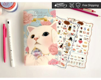 Jetoy Choo Choo Cat Blue Stickers Flora DIY Stationary Weekly Daily Diary Home Craft Style Festivities And Celebrate 8 sheets - KS-SA-129