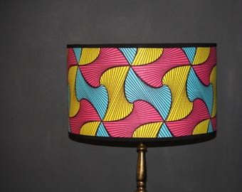 Pink, blue, yellow and black African print drum lampshade available in variety of sizes
