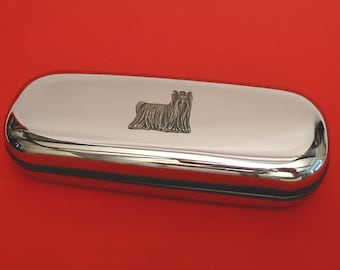 Yorkshire Terrier Chrome Glasses Case With Hand Cast Pewter Motif Mother Father Yorkshire Terrier Gift
