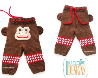 Silly  Monkey Hand-knitted Pants for 3 to 6 months  -  Ready to Ship