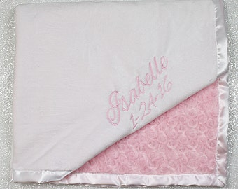 Embroidered Minky Blanket, Custom blanket, blanket with name, gift for baby, baby boy, baby girl, Pink blanket, pink and white, baby gift