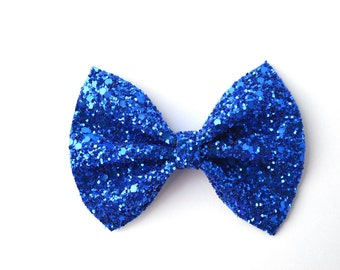 Royal Blue Glitter Bow Adorable Photo Prop Pictures Headband for Newborn Baby Little Girl Child Adult Spring Summer 4th of July Clip