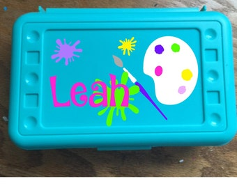 Back to School, Little Artist, Personalized Pencil Box, Many colors available