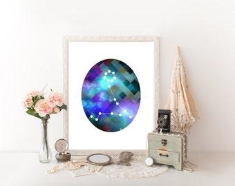 Pisces Zodiac, Pisces Art, Pisces Digital Download, Pisces Printable, Pisces Print, Pisces Constellation, Horoscope Décor, Astrology 0276
