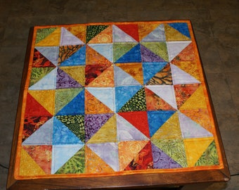 Table topper colorful and bright, mini quilt