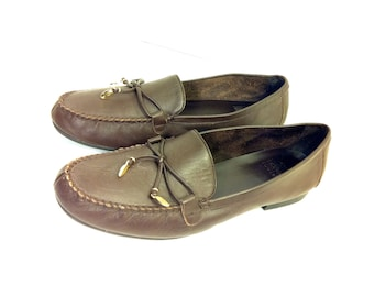80's Leather Flat Loafers 9 - Slip On Preppy Flats with Bow 9 - Brown Leather Moccasins 9