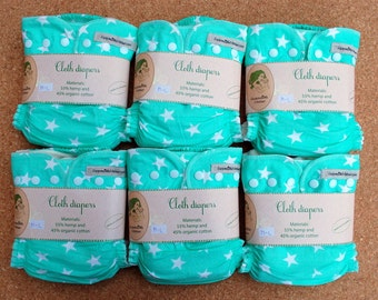 6psc hemp-orgnic cotton cloth diapers set/pack for baby + merino wool cover for free / full cloth diaper pack / nappy starter
