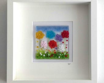Fused glass wall art Flowers Glass Art Fused Glass Picture