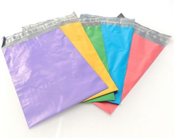 """10x13"""" -Color Combo ~Pink Green Yellow Purple Blue Self Sealing Poly Mailing Flat Plastic Shipping  Wholesale Colored Mailers (100 Pack)"""