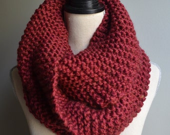 Chunky Knit Infinity Scarf in Merlot, Oversized Infinity Scarf, Chunky Knit Cowl, Dark Red Knit Scarf