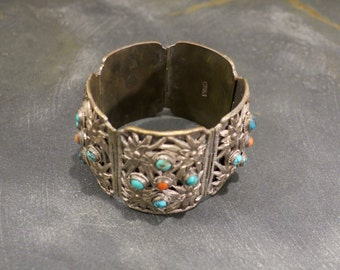 Vintage Chinese Filagree Cuff Bracelet with Turquoise and Coral