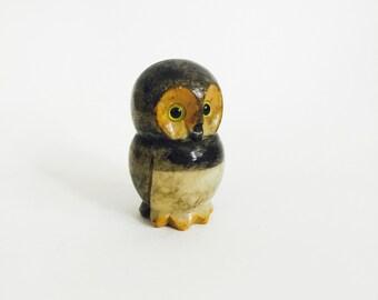 Vintage Carved Alabaster Stone Owl