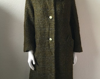 Vintage Women's 60's Coat, Olive Green, Wool, Fully Lined, Jacket (L)