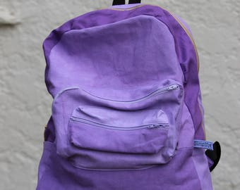 Handmade/Hand-dyed Casual Canvas Backpack In Purple