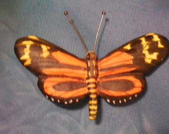 Handmade Wood carved Brooch of a  Butterfly  Isabella Longwing