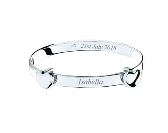 Sterling Silver Double Heart Baby Bangle - Personalised Engraved Name/Message