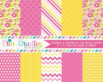 80% OFF SALE Digital Paper Pack Personal and Commercial Use Pink and Yellow Flowers Instant Download