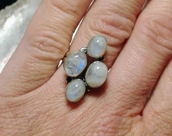 Rainbow Moonstone Ring - Size 6.25