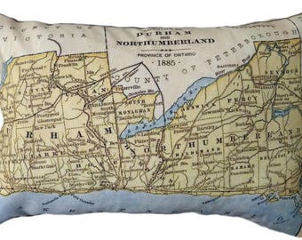 Durham County Vintage Map Pillow - FREE SHIPPING
