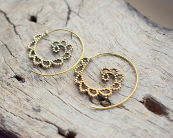 Tribal Brass , Nickel free , Gold Plated Handmade Earrings - Gift earrings - Ancient inspired Design #B35