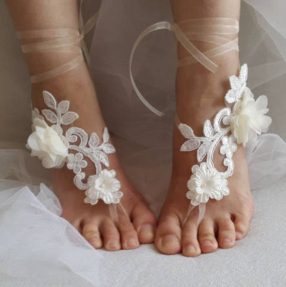 343dba8fe56824 ... lace shoes bridal shoes free accessories sandals wedding bridal summer wedding  barefoot sandals ivory shoes shipping ...
