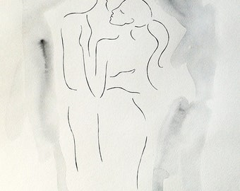 Embrace sketch. Couple drawing for bedroom. Black and white art. Watercolor and ink drawing. A3, embrace, sexy, nude.
