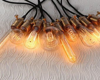 A set of 9 diverse Edison light bulbs with light sockets and cord wire -industrial lighting - DIY lights - hanging lamp - 110v,220v - lamp