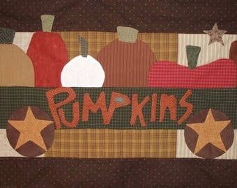 """Pattern: """"Pumpkins 4 Sale"""" Wall Quilt Pattern by Country Threads"""