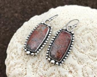 Red Crazy Lace Agate Earrings, Sterling Silver Dangle Earrings, Artisan Metalwork Bezel Set Stone Boho Chic Silversmith Drop Earrings