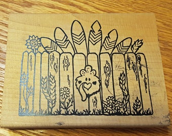 Thanksgiving Turkey and Fence Rubber Stamp from Love You To Bits