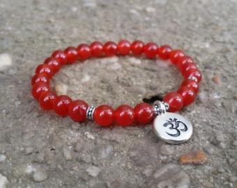 carnillian yoga bracelet stretch  bracelet energy bracelet wrist mala lotus bracelet spring natural gemstones chakra earthy bracelet