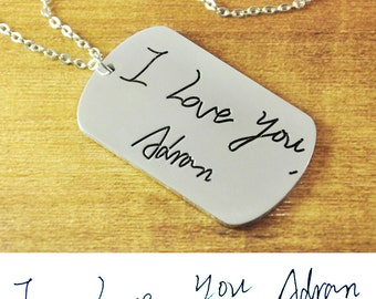 FREE Shipping- Personalized signature necklace,Hand Writing Memorial Necklace, Personalized Handwriting Jewelry, Engraved Signature jewelry