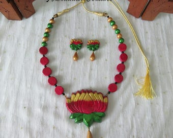 Terracotta Lotus Necklace Set