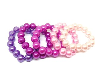 Girls acrylic pearl bracelet set - Set of 5 pink and purple pearl bead bracelets