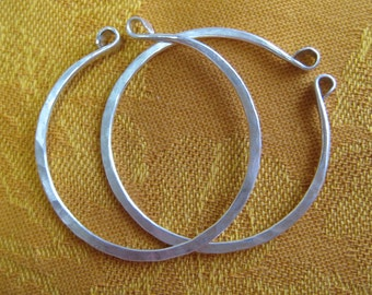 Medium Large Hand Forged Silver Hoops for Non Pierced Ears