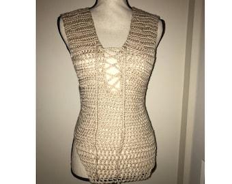Criss-Cross Crochet Bodysuit