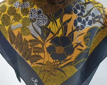 "Monique Valery Charmeuse Silk Scarf 30"" Hand Rolled Modern floral design"