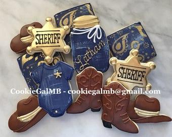 Cowboy/Sheriff Baby Boy Shower Cookies
