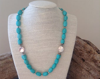 Magnesite turquoise with silver beads set