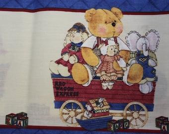 Teddy bears borders on blue  100% cotton fabric