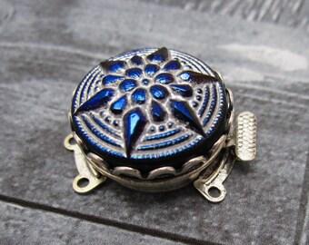 1  Metallic Rainbow Starflower Czech Glass Clasp