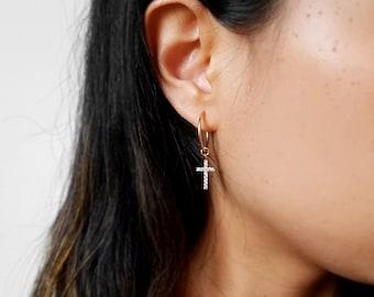 Cross CZ Hoop Earrings * 14k gold fill cross earrings,sterling silver hoops,endless hoops, shiny star galaxy earrings, north star earrings